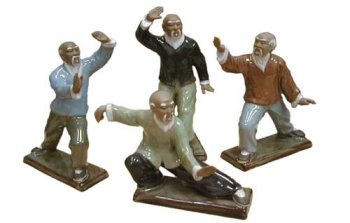 chinese tai chi set of figures hand glazed ceramic feng shui statues. Black Bedroom Furniture Sets. Home Design Ideas