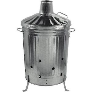 Durable Large Garden Burning Fire Incinerator Galvanised 90l Wood Leaves Rubbish Bin by ChoicefullBargain