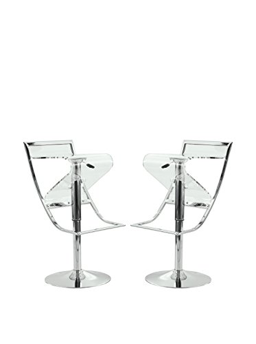 LeisureMod Set of 2 Napoli Transparent Acrylic Bar/Counter Stools, Clear