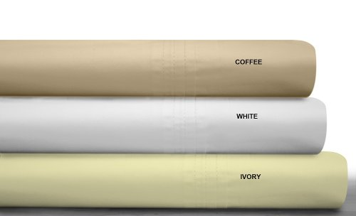 Tribeca Living 450 Thread Count Egyptian Cotton Percale Deep Pocket Sheet Set, California King, Coffee front-1036223