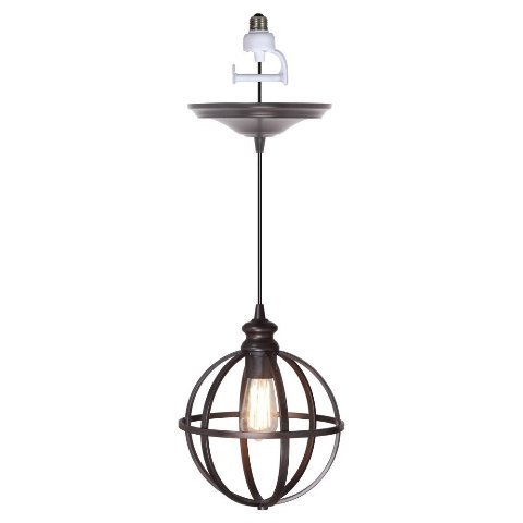 Worth Home Products Instant Screw In Pendant Light with Cage