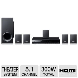 Sony 300 Watts 5.1 Channel DVD Home Theater Surround Sound Entertainment System With DVD Player, USB, HDMI, FM Tuner Plus Sony 6Ft High Speed HDMI Cable by Sony