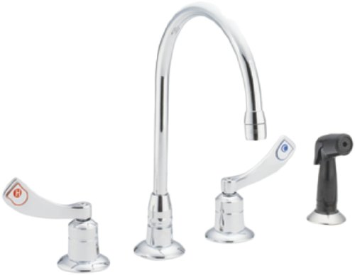 Moen CA8244 Commercial TwoHandle Wrist Blade Kitchen Faucet with Side Spray, Chrome