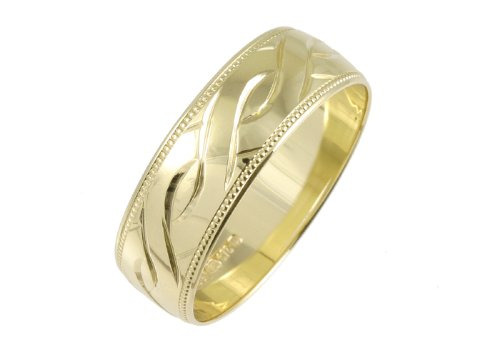 Wedding Ring, Celtic Style 9 Carat Yellow Gold, 6mm Band Width