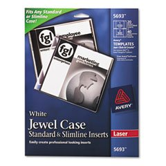 Laser CD/DVD Jewel Case Inserts Matte White 20/Pack