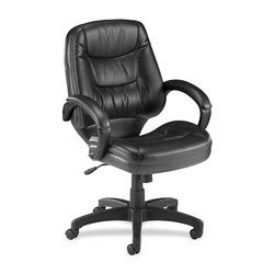 Lorell Mid-Back Managerial Chair, 26-1/2 by 28-1/2 by 43-Inch, Black Leather Finish