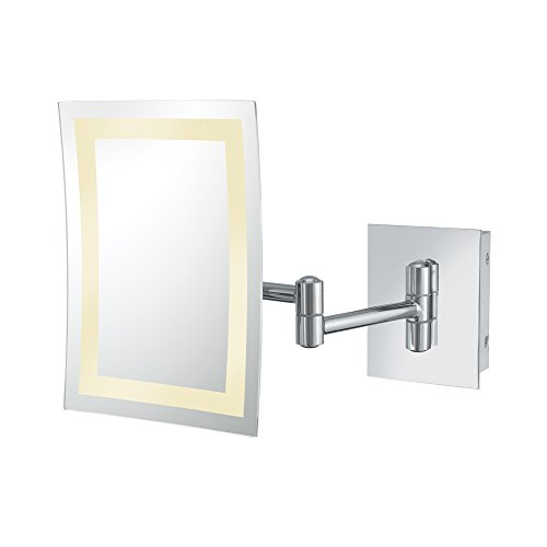 Kimball & Young 92943Hw Single-Sided Led Rectangular Hardwire Wall Mirror, 3X Magnification, Chrome front-416553