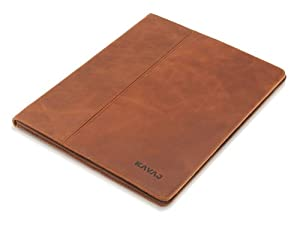 """KAVAJ leather case cover """"Berlin"""" for the new Apple iPad 4, iPad 3 and iPad 2 cognac brown - genuine leather with stand-up feature"""