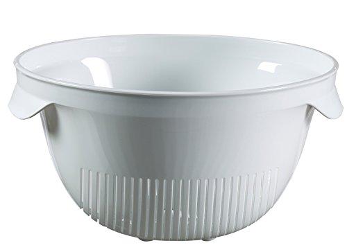 Curver 00734-059-00 Essentials-Scolapasta con manico in plastica, colore: bianco/multicolore, 28 x 23,5 x 13,4 cm