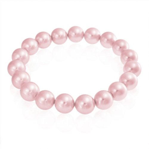 Bling Jewelry Rose Pink South Sea Shell Round Bridal Pearl Stretch Bracelet 10mm