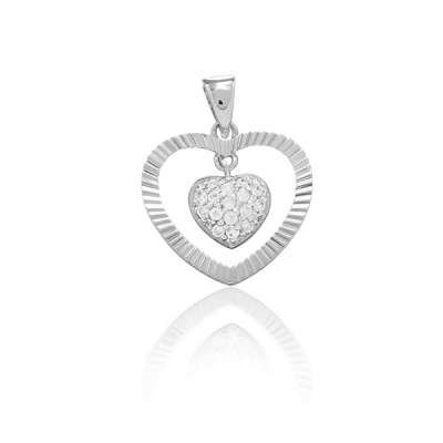 Charm Necklace Pendant Jewelry Sterling Silver With Outer Open Heart Hammerd Style And Inner Heart With Clear CZ's.(WoW !With Purchase Over $50 Receive A Marcrame Bracelet Free)
