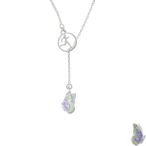 Translucent Purple & Lime Green Flying Butterfly Runner Disc Lariat Necklace