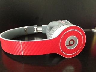 Red Carbon Fiber Skin For Beats By Dre Solo (Headphones Not Included)