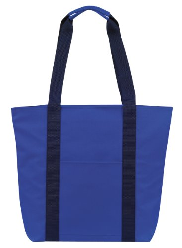 Large Over the Shoulder Tote with Zipper (Royal Blue/Navy) Picture