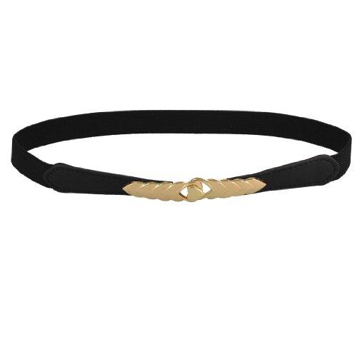 "Lady Black Gold Tone Interlocking Buckle 0.8"" Width Thin Elastic Waist Belt"
