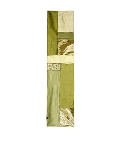 Aviva Stanoff Hand-Pressed Signature Velvet Table Runner, Forest/Sage
