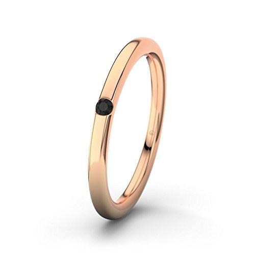 21DIAMONDS Women's Ring Piraeus Black Round Brilliant Cut Diamond Engagement Ring 14ct Rose Gold Engagement Ring