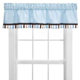 Bacati Diamonds & Stripes Aqua and Chocolate Valance
