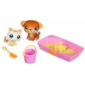 Buy Low Price Hasbro Littlest Pet Shop Pet Pairs Figures Puppy & Kitten in Sandbox (B000IHC8KU)