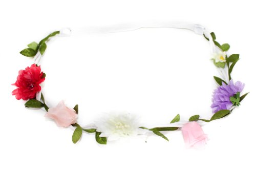 White Corded Stretch Flower Garland Bandeaux