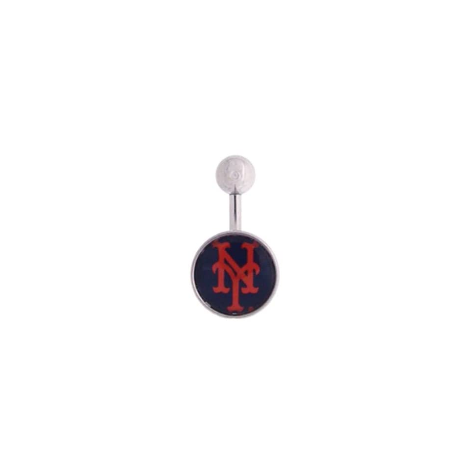 New York Mets 316L Stainless Steel Belly Ring   14G   3/8 Inch Bar Length   Sold Individually
