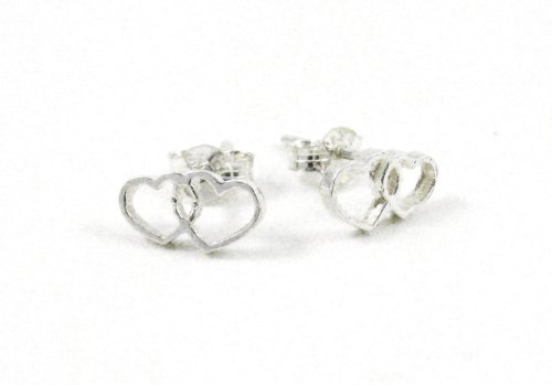 Sterling Silver Double Hearts Post Earrings