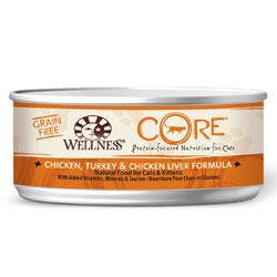 Wellness Canned Cat Food for Adult Cats, Core Grain Free Chicken Turkey and Chicken Liver Formula (Pack of 24 5.5 Ounce Cans)