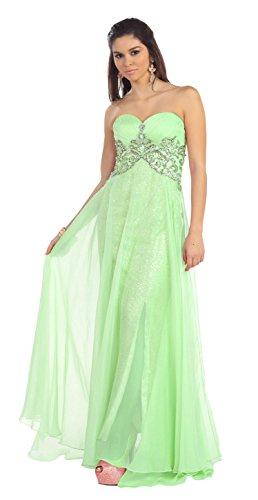 Long Rhinestone Sequins Chiffon Dress Formal Gown #7131 (8, Mint)