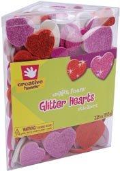 Fibre Craft Foam Glitter Stickers 2.25 Ounces Hearts 52736; 3 Items/Order