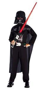 Original Darth Vader Star Wars Kinder Kostüm Set - 4 teilig mit Umhang, Brustteil, Maske und Lichtschwert