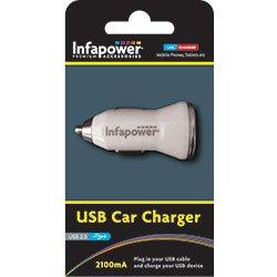 Infapower P008 Chargeur automobile USB pour téléphones portables et appareils USB 2 100 mA Blanc