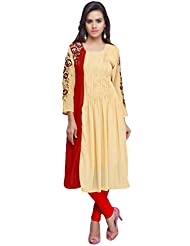 RK Exports Women's Beige-Red Fully Stitched Georgette Kurti