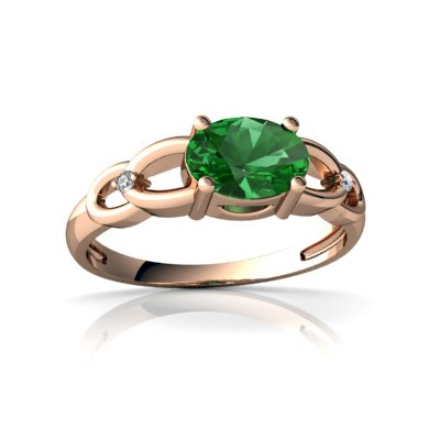 Created Emerald 14ct Rose Gold Ring