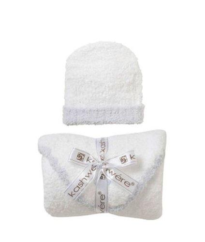 Kashwere Baby Set: Blanket & Cap - White w/Blue Trim