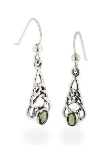 Sterling Silver Celtic Knot and Genuine Green Meteor Rock (Moldavite) Hook Earrings