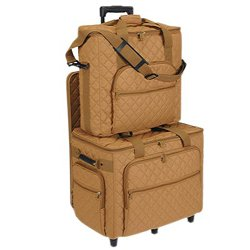 Hemline Camel Embroidery Studio Collection Three Bag Trolley Set front-6187