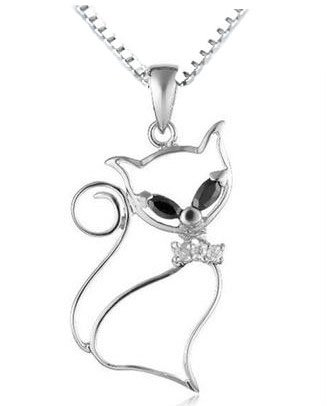 Rhodium Plated 925 Silver CZ Pussy Cat Pendant Necklace 18
