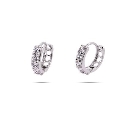 Five Stone Brilliant Cut CZ Huggy Earrings