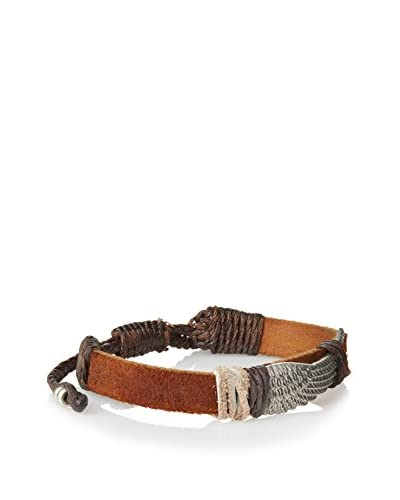 Link UP BR452BR Leather Bracelet with Silver Tone Feather