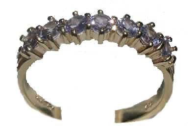 14K Yellow Gold Ladies Tanzanite Anniversary Eternity Ring - Size 12 - Finger Sizes 5 to 12 Available - Suitable as an Anniversary ring, Engagement ring, Eternity ring, or Promise ring