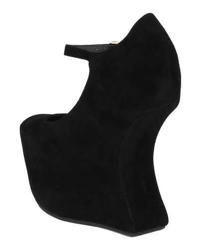 Vintage BK79 Women Suede Platform Mary Jane Strap Contoured Heel Wedge Pump - Black (Size: 7.0)
