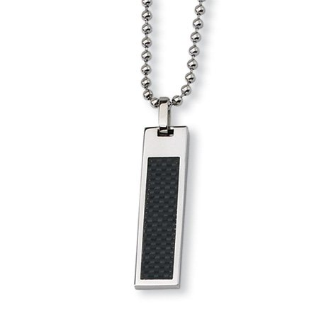 Stainless Steel Black Carbon Fiber Necklace 22 Inch