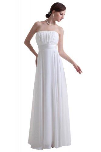 GEORGE BRIDE brief strapless ruched summer chiffon beach wedding dress Size 12 Ivory