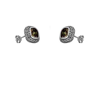 Fine Jewelry Sterling Silver Earrings Center Square Brown Topaz CZ and Brilliant Black Finish Design(WoW !With Purchase Over $50 Receive A Marcrame Bracelet Free)
