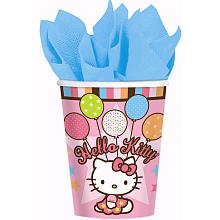 American Greetings Hello Kitty 9-Ounce Paper Party Cups, Balloon Dreams, 8-Count - 1