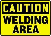 "CAUTION WELDING AREA Sign - 7"" x 10"" Plastic"