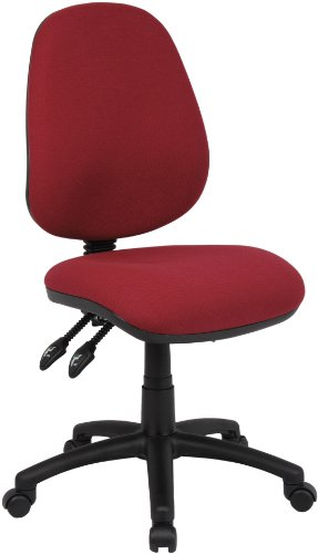 Fabric Operator seating - 3 Lever Operator Chair without Arms - Burgundy (V200-00-BU) H995xW1125xD490