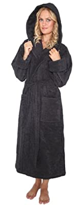 Arus Women's Robe'n Hood Style Hooded Turkish Cotton Bathrobe L Black
