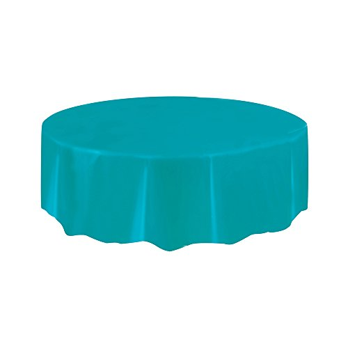 Round Teal Plastic Tablecloth, 84""
