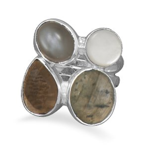 Labradorite, Quartz, Moonstone And Mother Of Pearl Ring Sterling Silver Multishape Stone Ring. The Faceted Oval Labradorite Measures 10.5Mm X 12.5Mm, The Oval Moonstone Is 8Mm X 10.5Mm, The Mother Of Pearl Is 7.5Mm, And The Faceted Pear Shape Smoky Quartz